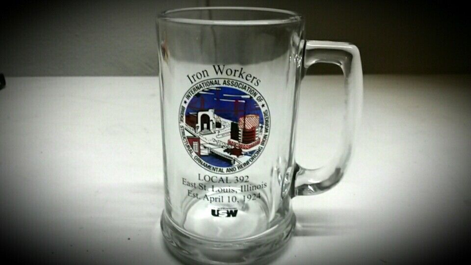iron workers international association glass mug