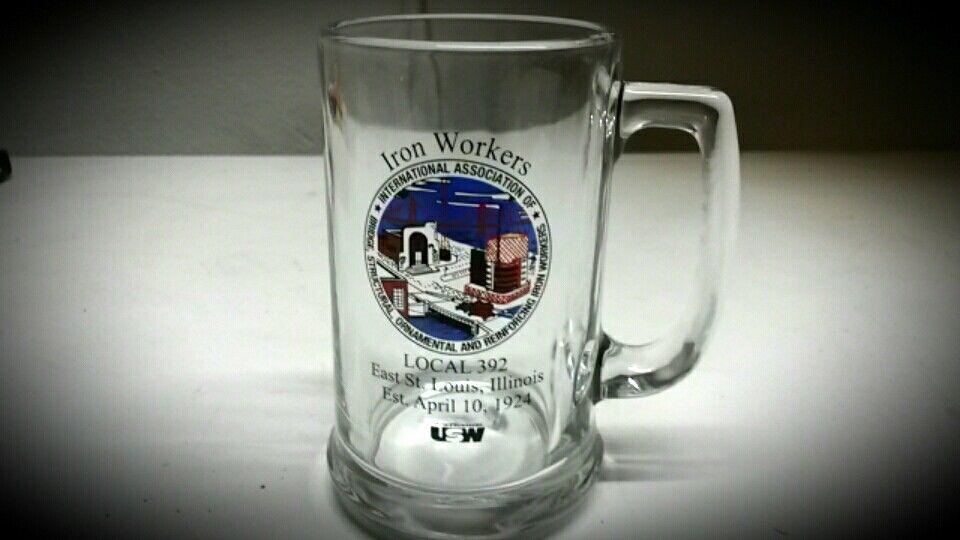 iron workers international association glass mug