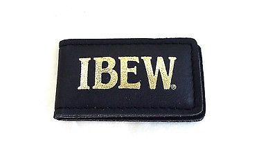 IBEW Leather Money Clip, Gold Lettering, Union Made, NEW