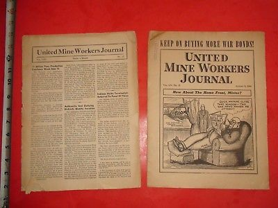 JB72 Vintage LOT 2 1944 Issues United Mine Workers Journals