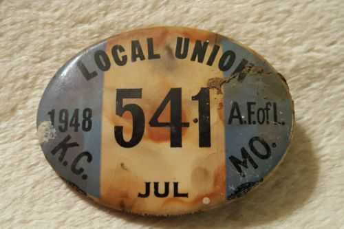 Vintage 1948 Local Union Pinback Button Badge Kansas City, MO