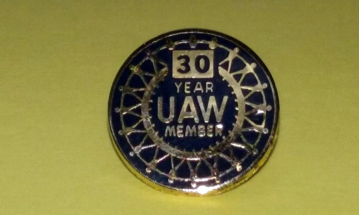 Vtg UAW United Automobile Workers 30 Year Member Lapel Pin Labor Union Detroit