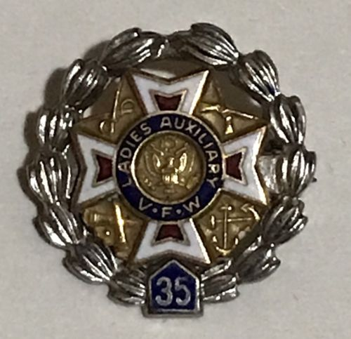 Vintage VFW Ladies Auxiliary 35 Year Pin By Leavens Sterling Silver SS