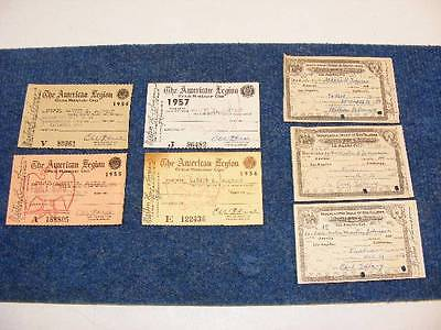 American Legion Official 4 Membership Cards 1954 -1957 3 Odd Fellows 1953 - 1955