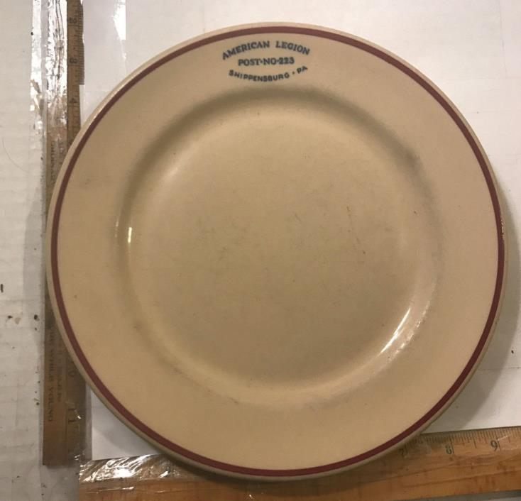 Vintage American Legion Shippensburg Pennsylvania Dinner Plate Post No 223 Inca