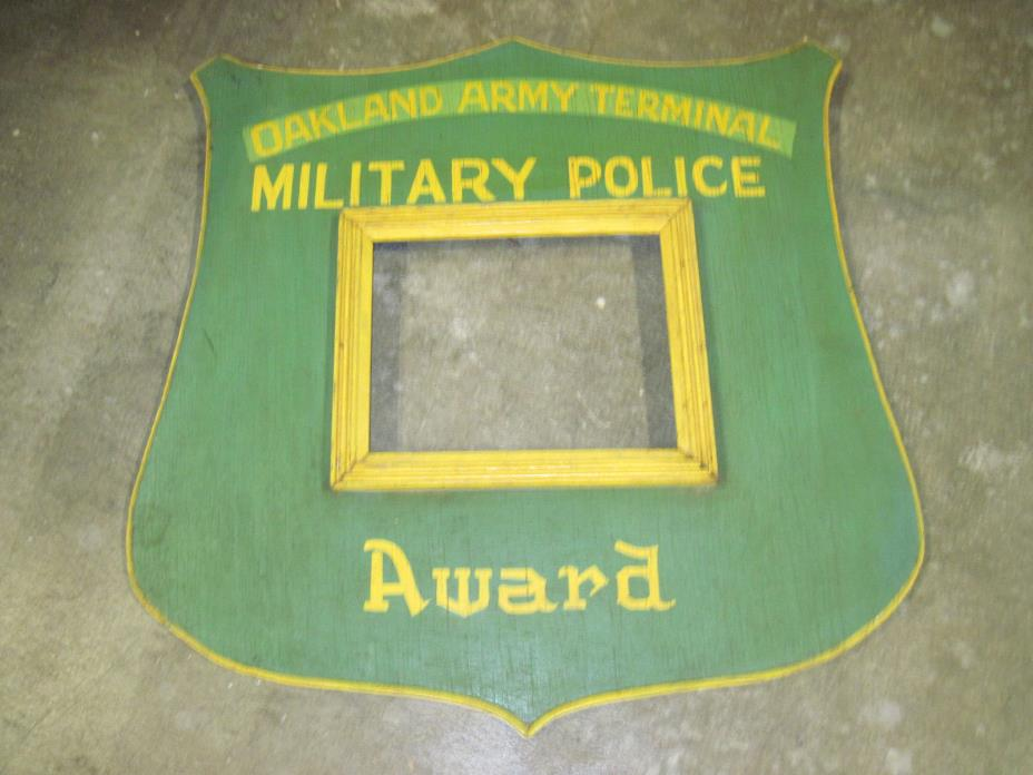 Vintage World War 2 Large Army Wood Sign Plaque Oakland Ca Military Police 24