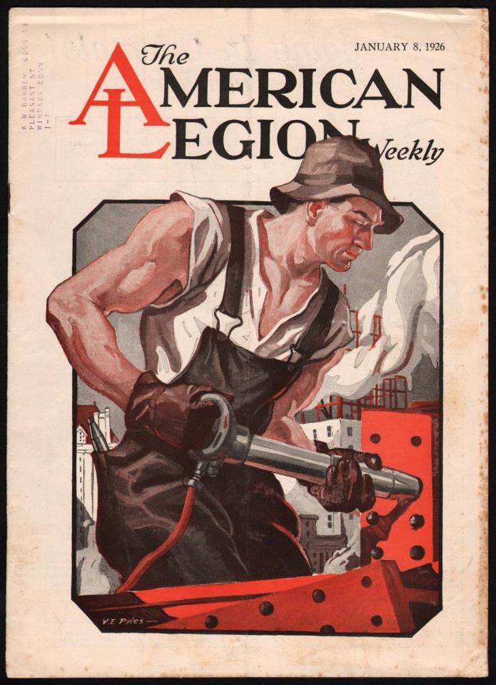 Vintage magazine THE AMERICAN LEGION WEEKLY January 8 1926 V E Pyles cover art