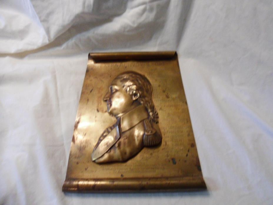 RARE Large VTG. 1942 Bronze plaque George Washington Veterans Foreign Wars VFW