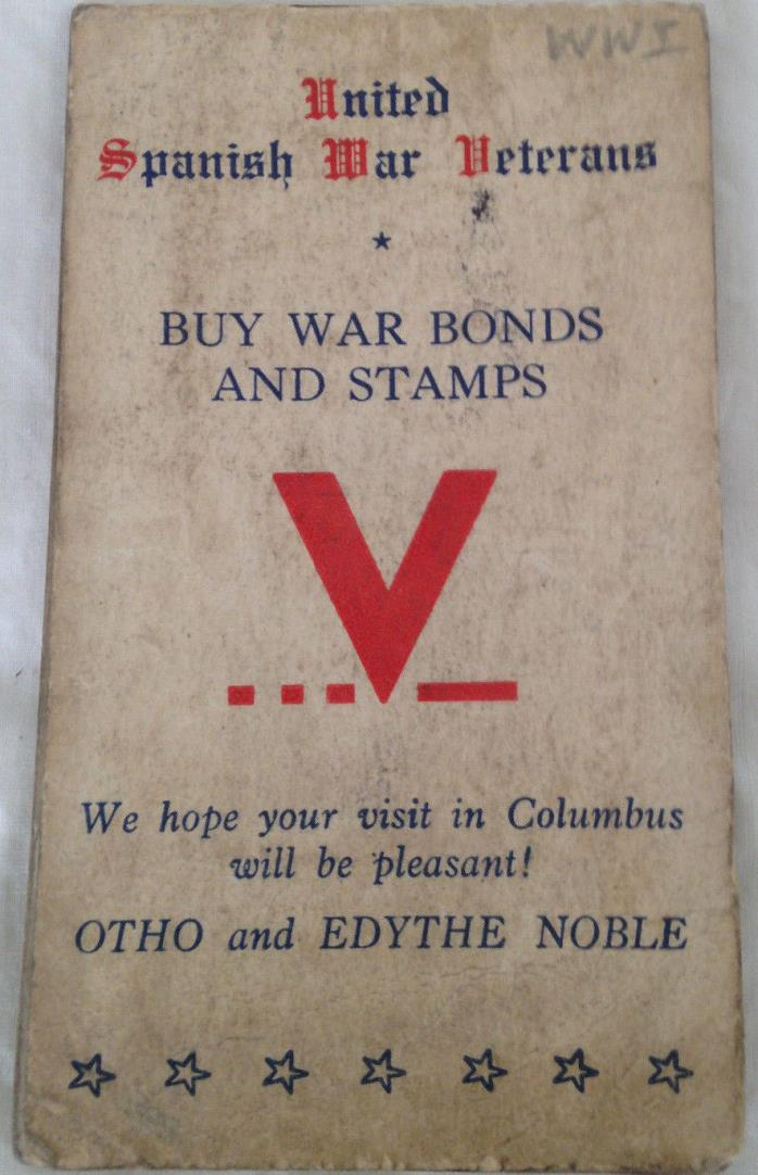 United Spanish War Veterans: Buy War Bonds: Note Book