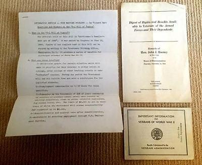 (3) VINTAGE VA PAMPHLETS Benefits for World War II Veterans