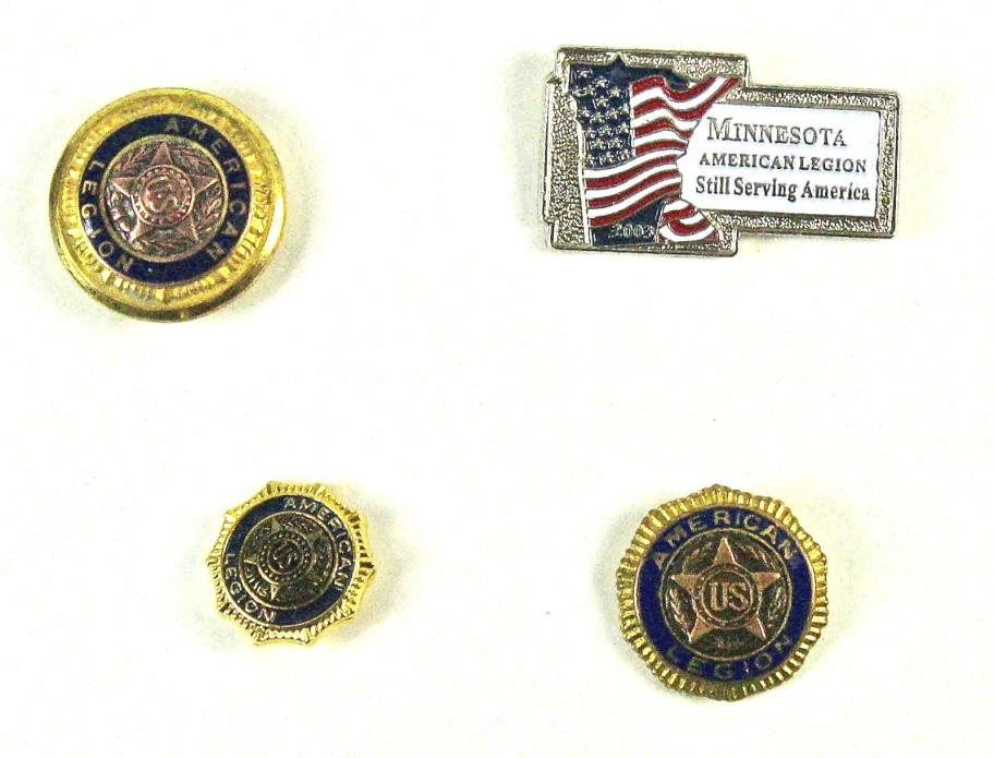 Lot of 4 - 3  Vintage American Legion Pins and One American Legion Button