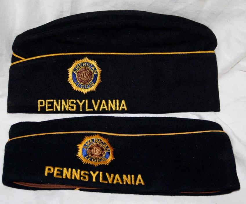 (2) VINTAGE AMERICAN LEGION PENNSYLVANIA POST 637 HATS ONE HAS GOLD POST NUMBERS