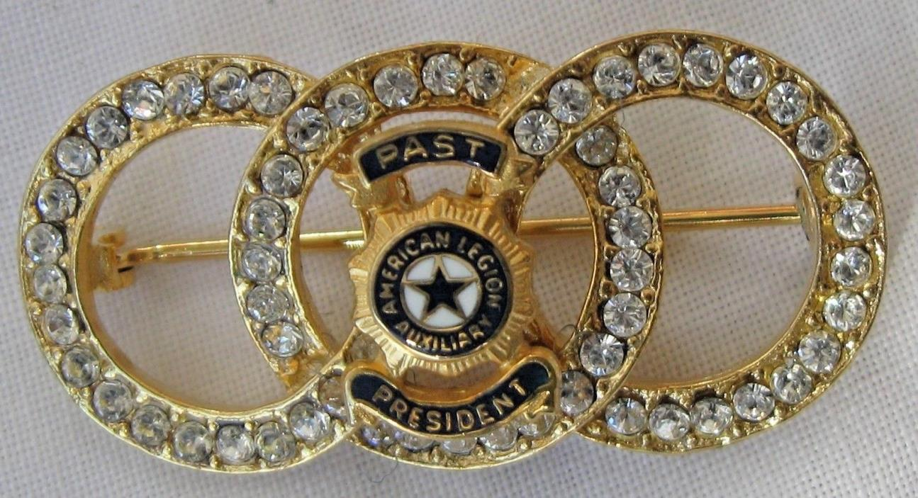 VINTAGE AMERICAN LEGION AUXILIARY PAST PRESIDENT RHINESTONE BROOCH JEWELRY PIN