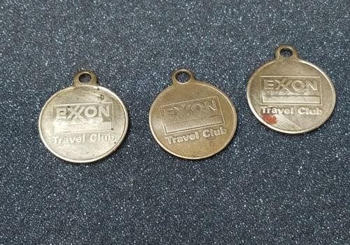 3x Vintage Brass EXXON TRAVEL CLUB Numbered Lost Key Return Tag, Drop in Mailbox