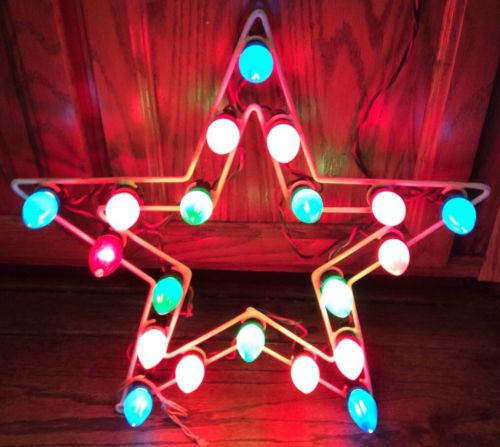 Vintage  20 Bulb C-9 1/4 Lighted Metal Christmas Star With 35 Replacement Bulbs