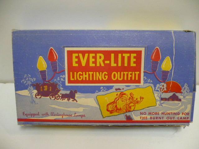 VINTAGE EVER-LITE CHRISTMAS TREE LIGHT SET (7) BULB #905 EXCELLENT BOX