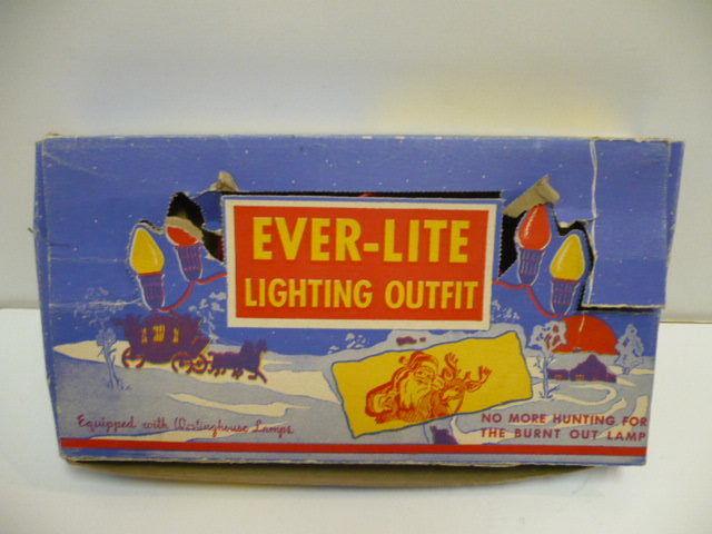 VINTAGE EVER-LITE CHRISTMAS TREE LIGHT SET (7) BULB #905 BOXED