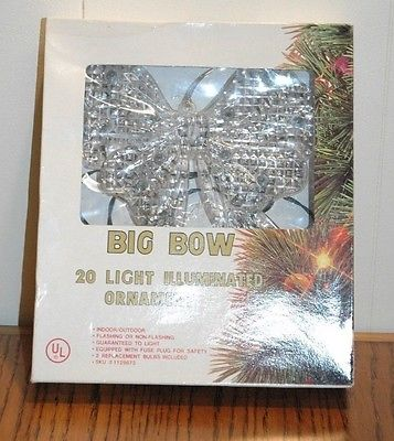 NEW VINTAGE 1980'S CHRISTMAS LIGHTED BIG BOW 20 LIGHTS ORNAMENT