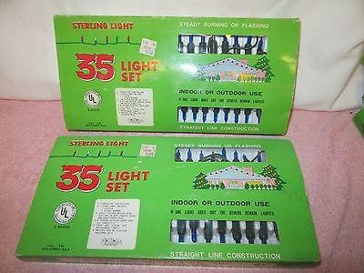 2 Vintage Sets of 35 BLUE Sterling Lights Christmas Lights - New in Package
