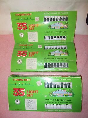 3 Vintage Sets of 35 CLEAR Sterling Lights Christmas Lights - New in Package