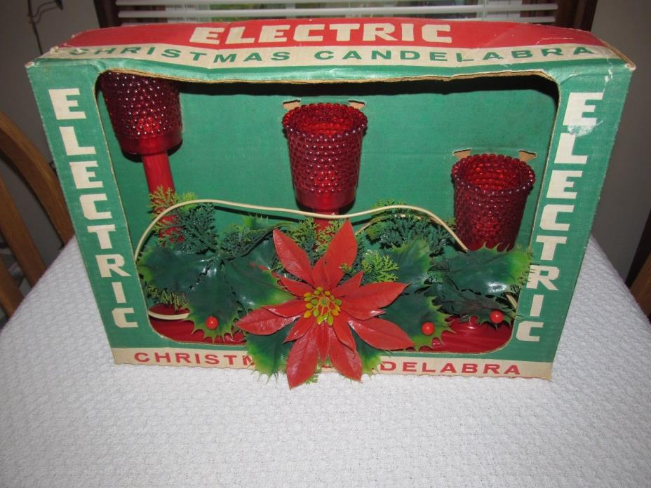 Vintage Christmas Electric Red Candelabra In Box Works Poinsettia ACLA Inc USA