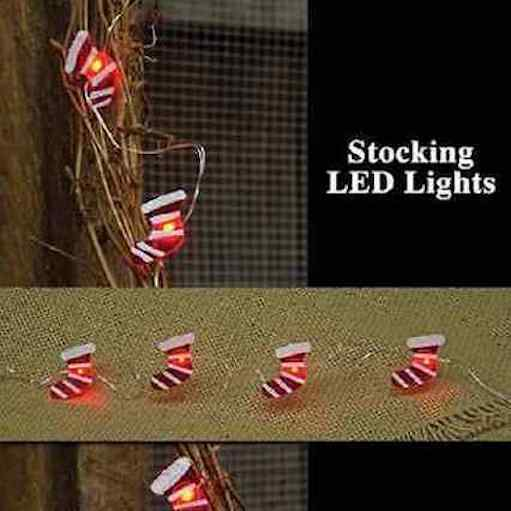 Mini CHRISTMAS STOCKING 20 LED LIGHT STRAND, NIP
