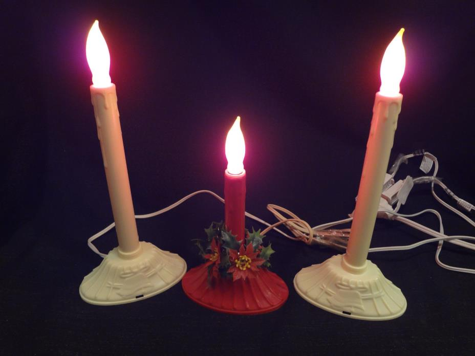 3 Vintage Christmas Candle Drip Lights (2 White & 1 Red)
