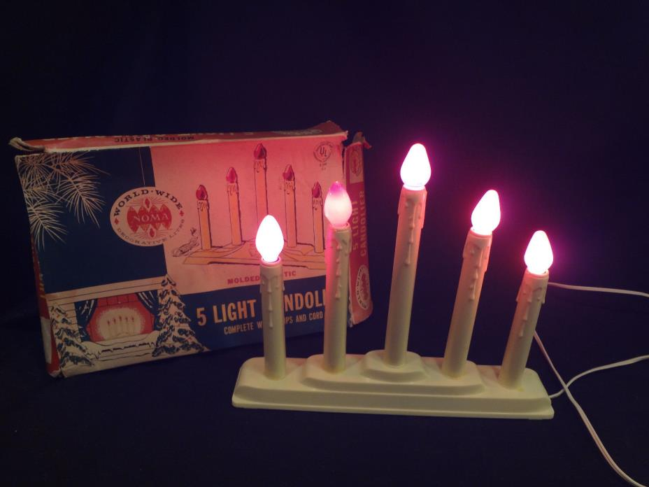 Vintage 5 Light Christmas Candolier By Noma World Wide