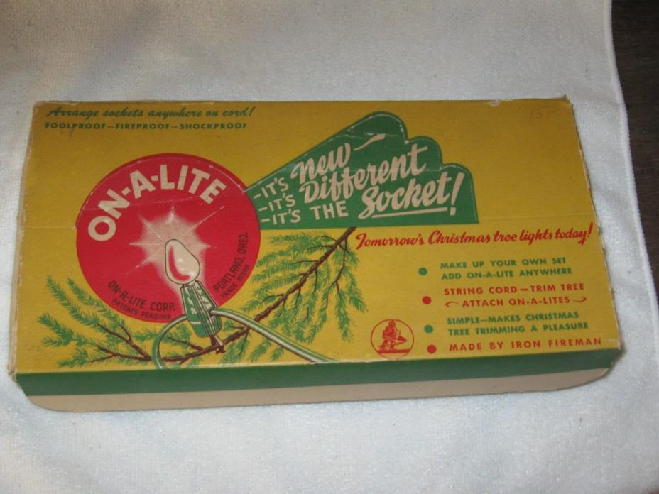 Vintage Christmas Tree Lights On-A-Lites Original Box Set 7 + Spare Add Sockets