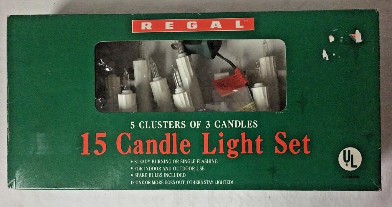 Regal Clip On Candle Christmas Tree Lights 15 Strand Vintage Look