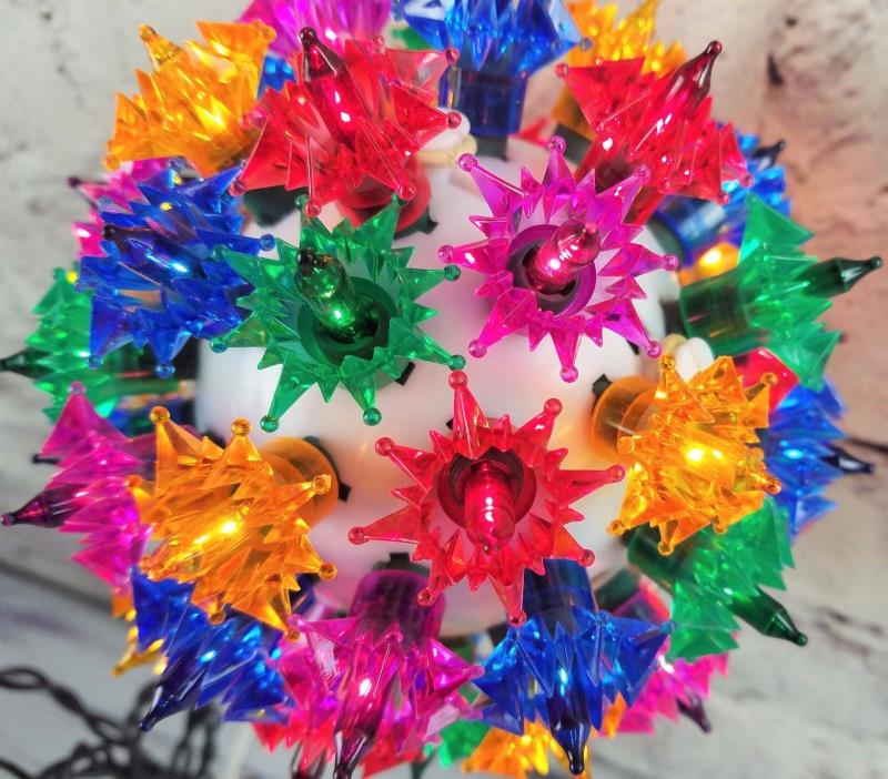 Vintage Christmas Ball Light Sphere Multi-color Plastic Stars   6