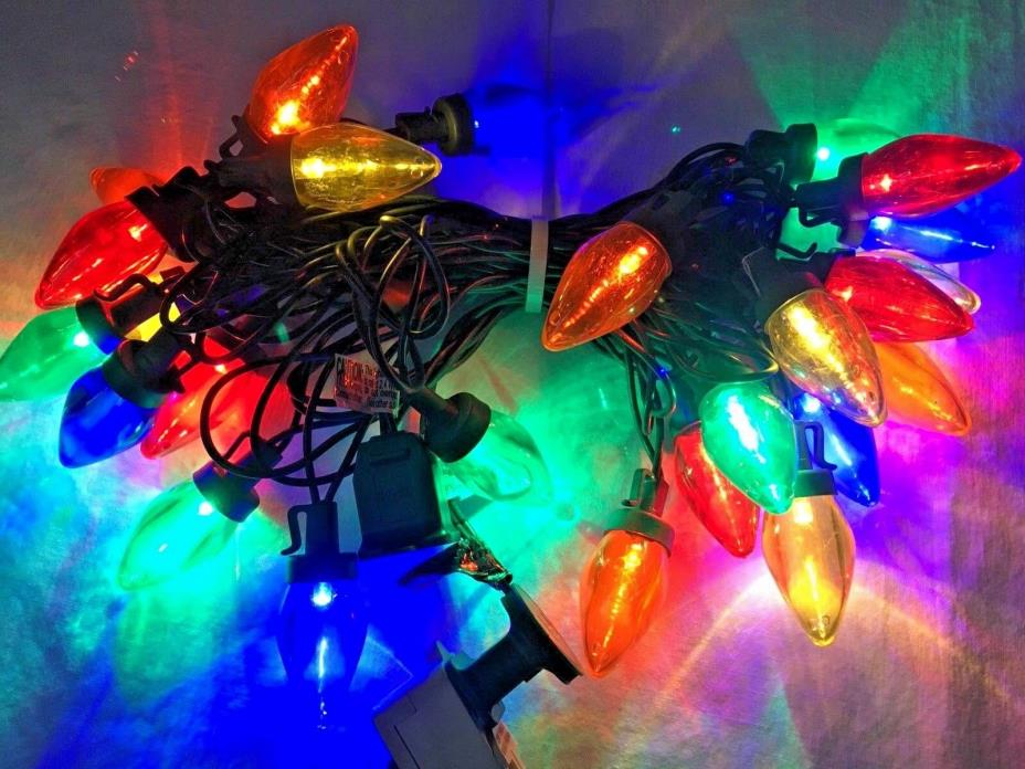 Multi Colored Christmas Tree Lights 24 Large Bulb Strand with Clips Vintage Look