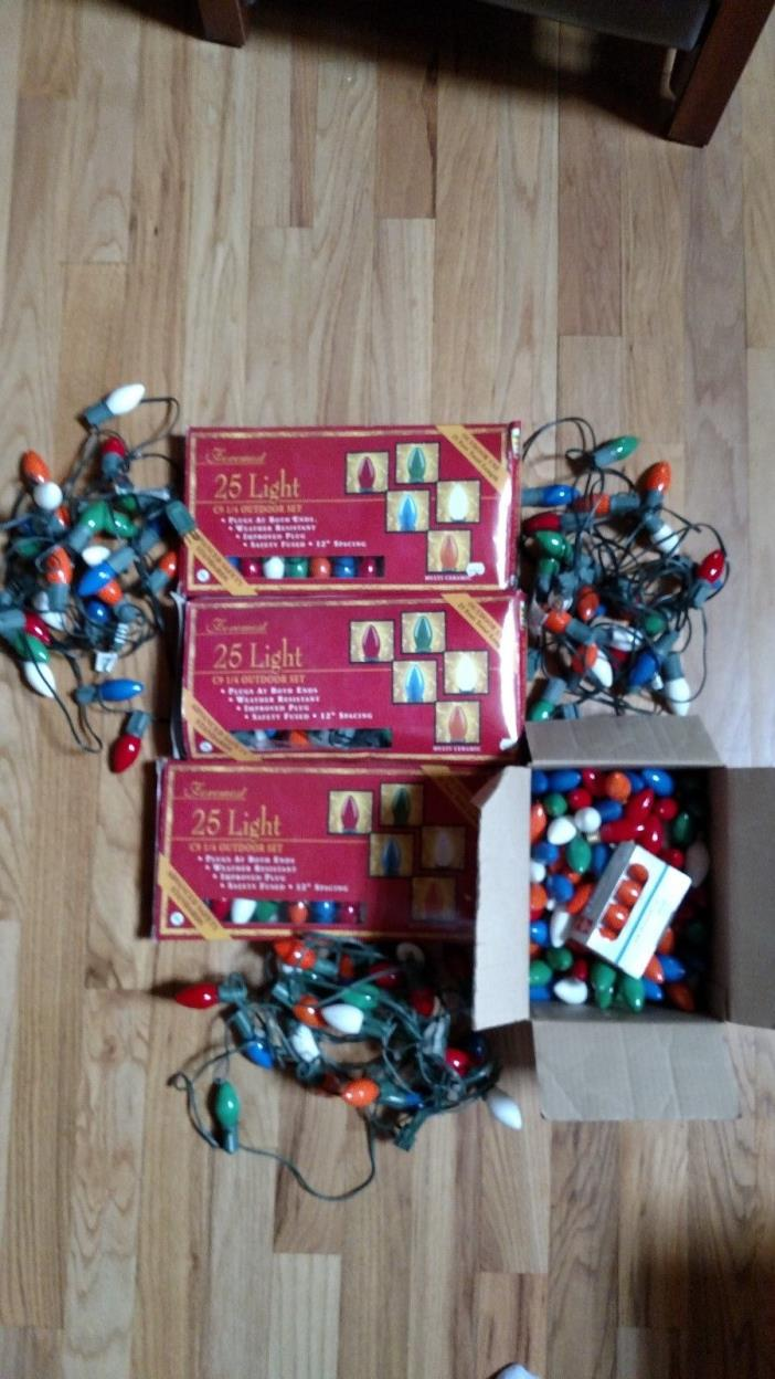 Lot of 6 Strings Vintage Christmas Lights Large 3