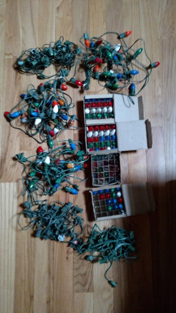Vintage Christmas Lights 6 Strings and over 125 bulbs 2