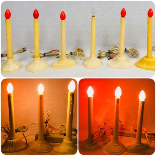 Set of 7 Vintage Christmas Window Electric Plastic Wax Drip Candle Lights (gs)