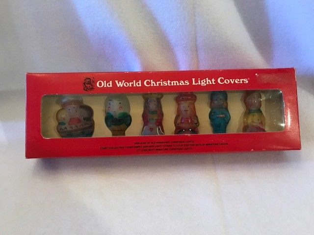 Vintage Old World Christmas Glass Light Covers Mother Goose Nursery Rhymes