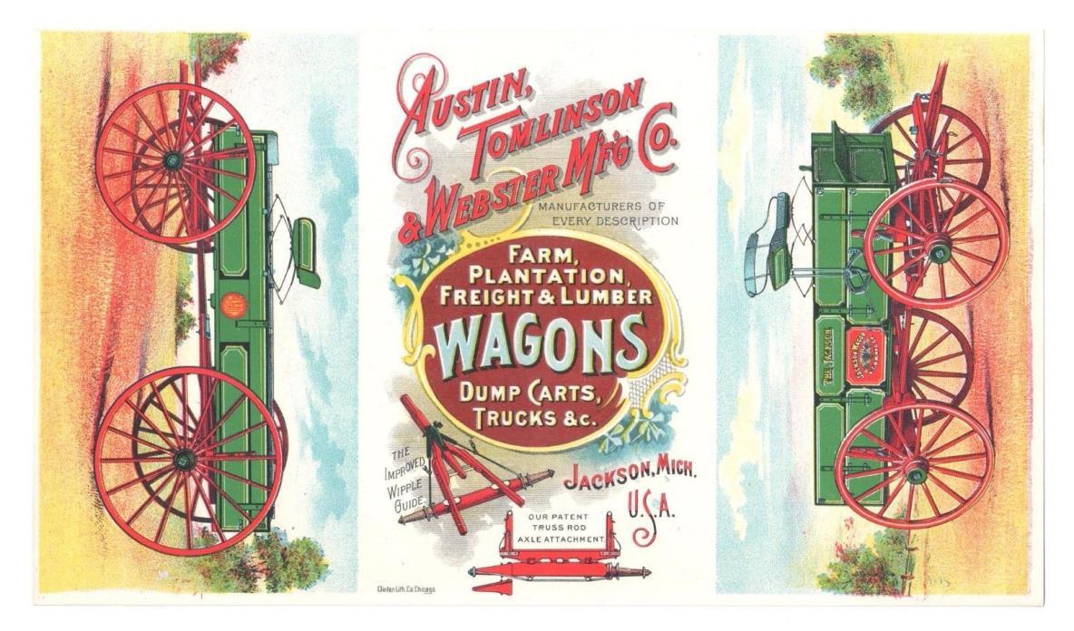 ANTIQUE TRADE PRINT AD AUSTIN, TOMLINSON & WEBSTER FARM WAGONS JACKSON, MI