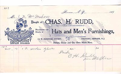 CHAS.H RUDD THE ROMAN HATTER 1897 INVOICE  NEWARK NJ--JUDGE J.D. MCMAHON