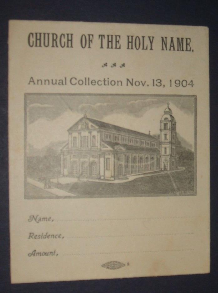 Church of the Holy Name, Providence RI Annual Collection Nov. 13, 1904 Envelope