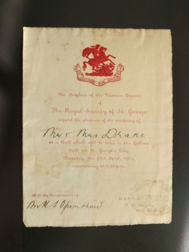 1914 THE ROYAL SOCIETY OF ST GEORGE Invitation To a Ball ~ St George For England