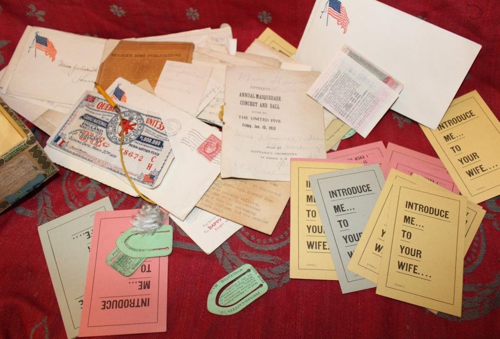 Antique Paper Lot Trade Cards Letters Receipts Cigar Box
