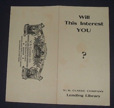 1911 W.B. Clarke Booksellers, Stationers, Lending Library Brochure Boston, MA