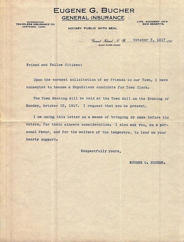 VINTAGE 1917 E BUCHER INSURANCE LETTERHEAD GRAND ISLAND NEW YORK nr BUFFALO
