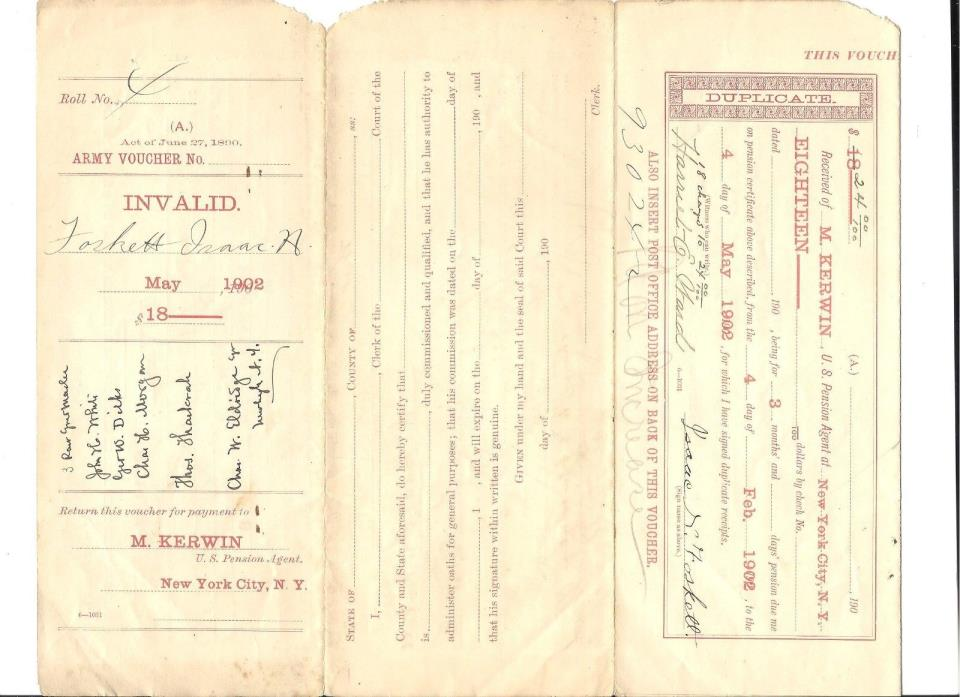 1902 95/4) US Army Pension Voucher