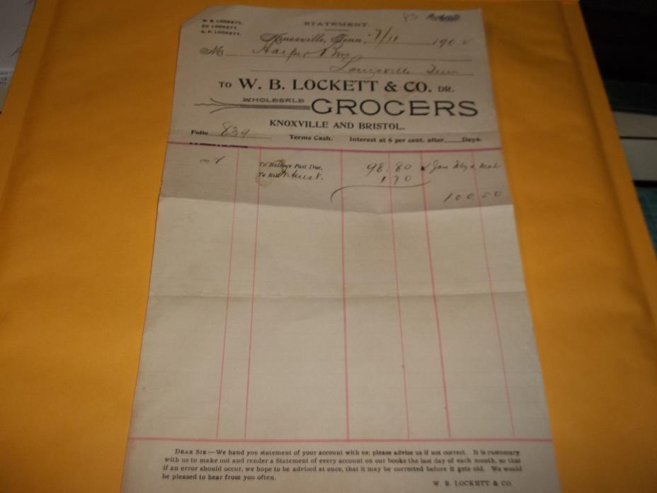 W.B. LOCKETT & CO.DR. WHOLESALE GROCERS 7/11/1902 BILL  HEAD KNOXVILLE,TENN.