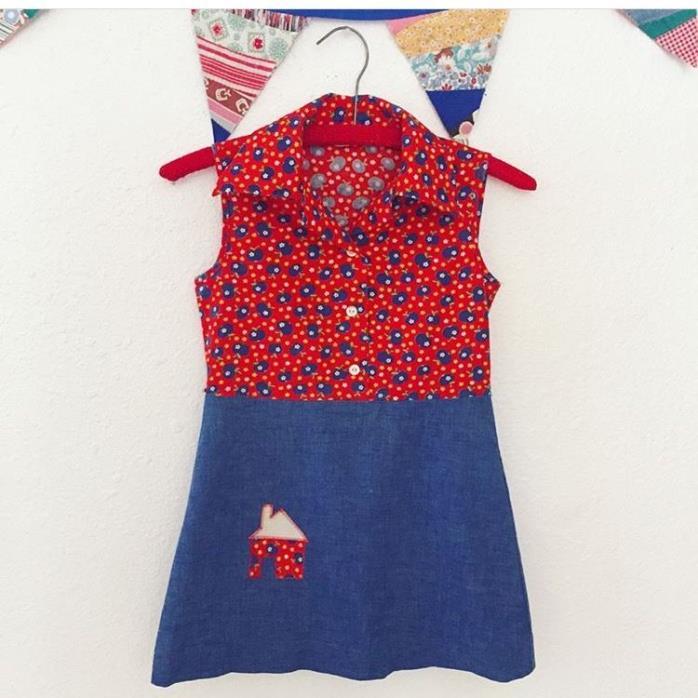 Vintage Little Girl's 1970s Cotton Sleeveless Dress Flowers Apples Groovy Size 8