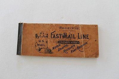 Vintage Edwardian Era Receipt Book Fast Mail Line
