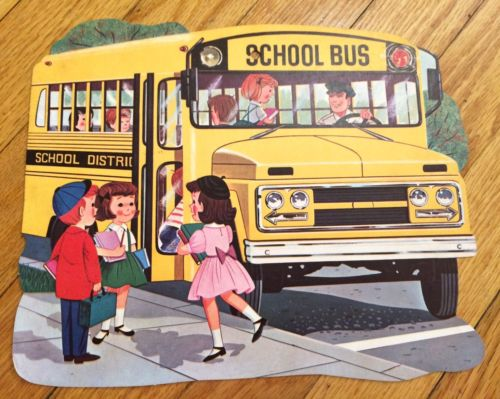 Dennison Antique Cut Out Decorations  School Bus Die Cut