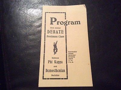 debate program Phi Kappa vs Demosthenian University Of Georgia 1904