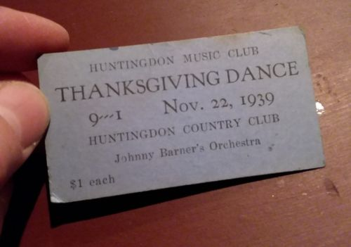 1939 Huntingdon PA Dance Ticket Johnny Barners Orchestra